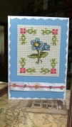 Vintage flowers, stitched many years ago by my Grandmother and salvaged for this card